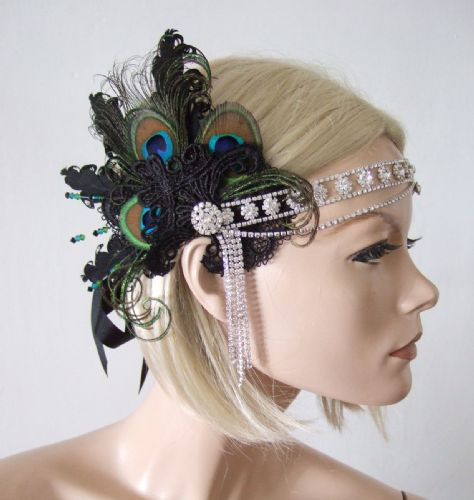 "Black Lace Guipure + Green Peacock Feathers Crystal ""Lou"" Headband 1920s Art Deco Gatsby Flapper"
